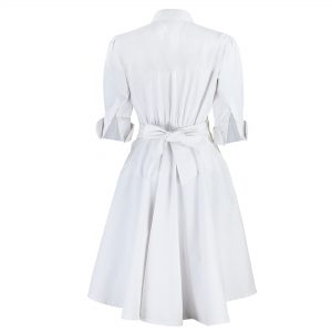 White Nursing Uniform Back View Of Scrub Dress